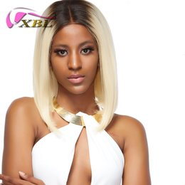 Discount indian women blonde hair - 1b 613 Blonde Glueless Lace Front Bob Wigs with Baby Hair Ombre Lace Wig Pre Plucked Short Wigs for Black Women Atina