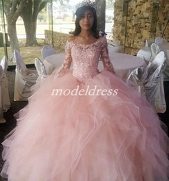 $enCountryForm.capitalKeyWord Australia - 2019 Princess Pink Ball Gown Quinceanera Dresses Bateau Long Sleeve Hollow Back Cascading Ruffles Appliques Prom Party Gowns For Sweet 15