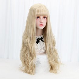 "lolita wigs blonde Australia - 32""Blonde Cosplay Lolita Wig With Bangs Long Wavy Synthetic Hair Cosplay Costume Wig For Women Lolita Wig High Temperature Fiber"