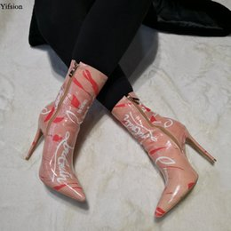 nice stilettos shoes NZ - Rontic New Women Winter Ankle Boots Sexy Thin High Heels Boots Nice Pointed Toe Gorgeous Pink Shoes Women Plus US Size 5-15