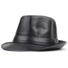 96facb51e0f3b PU Leather Hats Vintage Jazz Cap Cowboy Gentleman Bowler Short Brim Floppy  Trilby Panama Hat Hip Hop Black Cap Men Women D19011102