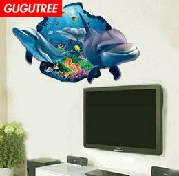 $enCountryForm.capitalKeyWord Australia - Decorate home 3D dolphin cartoon art wall sticker decoration Decals mural painting Removable Decor Wallpaper G-846