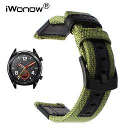 $enCountryForm.capitalKeyWord Australia - Canvas Nylon + Genuine Leather Watchband For Huawei Watch Gt Quick Release Band Steel Clasp Strap Wrist Bracelet Black Green T190620