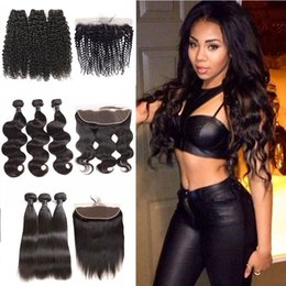 body deep wave closure Canada - Brazilian Body wave Human Hair Bundles With Frontal Closure Deep Wave Kinky Curly Malaysian Virgin Hair Bundles With Lace Frontal