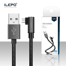 Nextel Cable NZ - iLepo Micro USB Cable 2.4A High Speed 90 Degree Elbow Nylon Cables Charging Sync Data Durable Cord Metal Plug Fast Charger For Phone Xs Max