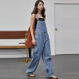 women washed jumpsuit UK - Washed Denim Jumpsuit Women 2019 Summer Autumn Loose Straight Japan Korean Style Ladies Long Bodysuit Girl Casual Jeans Rompers T200702