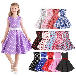 floral print knee length tops Australia - Vintage Kids Dress Cotton Knee Length Dresses Tank Top Summer Dresses 15 patterns for choose 19070502