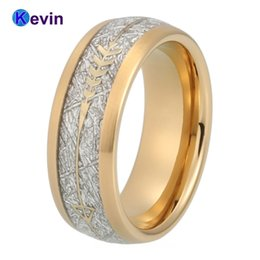Tungsten Wedding Rings Australia - Gold Wedding Band Men Women Tungsten Ring With Gold Steel Arrow And White Meteorite Inlay New Arrivals J 190515