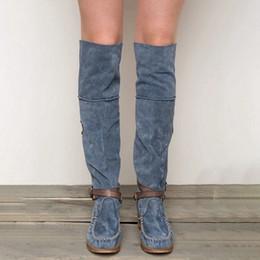 Ingrosso Signore punta rotonda tacco basso in pelle nappa scamosciata sopra il ginocchio Nice New donna pro-Fringe Boots Pop