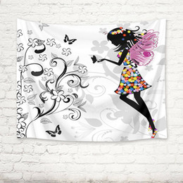 Wholesale Flowers Butterfly Angel Girl Tapestry Wall Hanging for Living Room Bedroom Decor