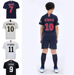 Wholesale kids clothes psg soccer jersey CAVANI MBAPPE DI MARIA NEYMAR JR Maillot De Foot home away third Football jerseys