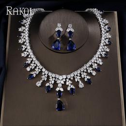 $enCountryForm.capitalKeyWord Australia - RAKOL Luxury Clear Water Drop Cubic Zirconia Leaf Bridal Wedding Jewelry Set for Elegant Women Dinner Dress Fashion Bijoux Femme