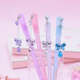 $enCountryForm.capitalKeyWord Australia - 4 Pcs set Cartoon 0.5mm Rabbit Butterfly Crystal Pendant Gel Pens Black Ink Neutral Pens for Writing Stationery Office School