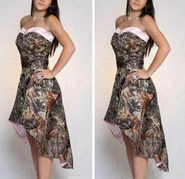 camo bridesmaid dresses cheap UK - Cheap A Line High Low Camo Bridesmaid Dresses Short Formal Vestidos De Bridesmaid Cheap Online Camouflage Honor Of Maid Party Gowns