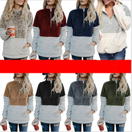 Girls fleece hoodie online shopping - Woman Sherpa Pullover Hoodies Winter Autumn Soft Fleece Sweatshirt V Neck Zipper Plush Sweater Long Sleeve Hoodie Tops Patchwork Sweatshirts