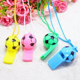 football cheerleading NZ - 100 Pcs Random Color Football Soccer Rugby Cheerleading Whistles Pea Fans Whistle For Kids Musical Instrument Toys