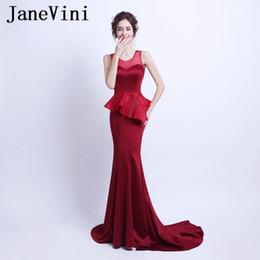 black dinner gowns 2019 - JaneVini Sexy Burgundy Evening Dresses 2019 Mermaid Long Ladies Formal Dinner Gowns Satin Open Back Party Wear Vestidos