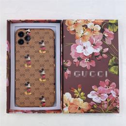 Großhandel Leder-Maus-Handy-Fall mit Schreiben Marke für iphone 11 pro max XR 7 8 Luxus-Designer-Hüllen mit Kasten