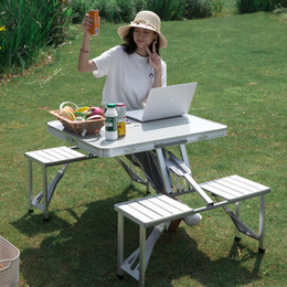 Wholesale stand chair for sale - Group buy Aluminum Alloy Folding Table Set with Chairs Portable Foldable Garden Table Chair Set Integrated Roll Up Stand Picnic Camping