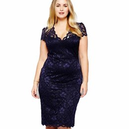 86dae068fc4 Wipalo Plus Size Women V Neck Elegant Lace Dress Summer Sexy Crochet Hollow  Out Evening Sheath Bodycon Vestidos Dress Female 5XL Y19012102