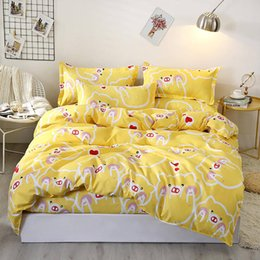 yellow king sized duvet covers NZ - Cartoon Pigs Bedding Set Queen Size Cute Fashionable Duvet Cover Yellow King Full Twin Single Comfortable Bed Cover with Pillowcase