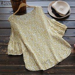 $enCountryForm.capitalKeyWord Australia - 2019 Zanzea Summer O Neck Lantern Sleeve Women Blouse Loose Off Shoulder Floral Printed Cotton Linen Top Work Ol Shirt Y19062601