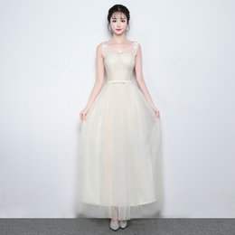 China New Summer Floor-length Sweet Juniors Bridesmaid Dresses for Women Girls Long Mesh Grey Prom Party Holiday Gowns Performance Show supplier holiday bridesmaid dresses suppliers