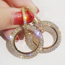 SwarovSki croSSeS online shopping - 2019 NEW silver needle rhinestone circle crystal from Swarovski long earrings temperament Korean personality wild earrings