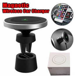 Wholesale WP W5 Wireless charger Degree Universal Magnetic Car holder Mount Air Vent Stand Holder For iPhone XS Samsung S9 with Retail Package