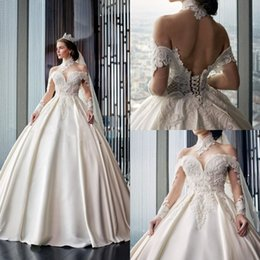 $enCountryForm.capitalKeyWord Canada - High Neck Country Wedding Dresses Free Petticoat Off The Shoulder Lace Up Back Appliqued Satin Vintage Bridal Gowns Beach Wedding Dress