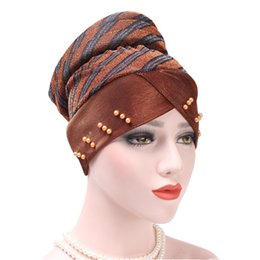$enCountryForm.capitalKeyWord Australia - European Amazon Spelling Color Stripe Nail Pearl Scarf Hat Muslim Chemotherapy Hat Back Sponge Disc The Head Cap