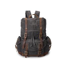 $enCountryForm.capitalKeyWord UK - 2019 Summer Men's Heavy Duty Canvas Genuine Leather Backpack Vintage Designer Rucksack Large Cpacity Hiking Camping Backpack