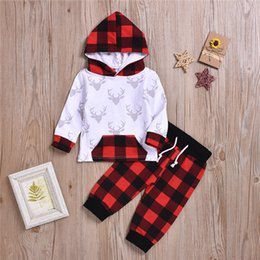 $enCountryForm.capitalKeyWord Australia - New baby kids clothes Sets Spring Autumn kids Deer head long sleeve hoodie top+Checked trousers two piece sets kids designer clothes JY648