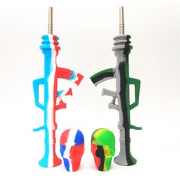 $enCountryForm.capitalKeyWord Australia - Bong Honey Straw AK47 Shape Silicone Nectar Collector+15ml Skull Shape Container Smoke Pipe With Titanium Tip Dab Straw Oil Rigs For Wax