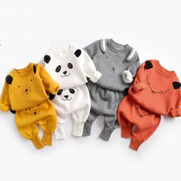 baby pullover NZ - Baby Suit Autumn Winter Baby Boy Cartoon Cute Clothing Pullover Sweatshirt Top + Pant Clothes Set Baby Toddler Girl Outfit SuitMX190912