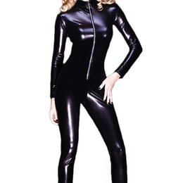 Womens Leather Jumpsuit Australia - Sexy Zipper Womens Erotic Close-Fitting Faux Leather Jumpsuit PVC Catsuit Leotard Skeleton Bodysuit Costume Club Wear