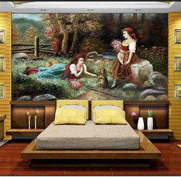 Weave Oil Australia - custom size 3d photo wallpaper living room mural oil painting woman dog flowers 3d picture sofa TV backdrop wallpaper non-woven wall sticker