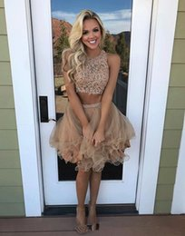 gorgeous homecoming dresses 2021 - Gorgeous Champagne Short Homecoming Dress Two Pieces Sheer Neck Lace Applique Beaded Cheap Graduation Party Dress Satin