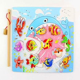 $enCountryForm.capitalKeyWord NZ - Wooden Cartoon Magnetic Kitten Fishing Game Sea Animals Toys Children Puzzle Jigsaw Puzzle Early Education Toys Baby Kids Gifts
