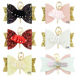 Dance Hair Australia - HOT SALE Hair Accessories Barrettes for Girls 8 CM Glitter Hair Clips with Dancing Princess Character Handmade Kids Party Gifts 6PCS