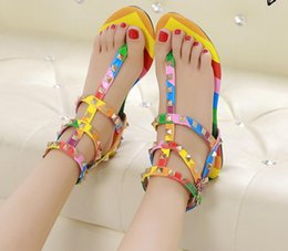 Shoes Sale T Strap Australia - Hot Sale-Size 34-45 rainbow color gladiator sandals women designer brand rivets flip flops T strap-sandals ankle belt Roman shoes