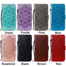 Custodia per cellulare Mandala Embossing Wallet per iPhone X XR XS Max 7 8 Plus e Custodia per Samsung Galaxy Note 9 S10 S9 Plus 5G A20 A30 A40 A50 A60 A70