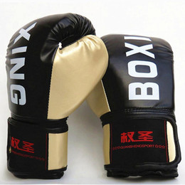 karate gloves NZ - 10oz PU Leather Boxing Gloves Mitts Adult Muay Thai Taekwondo MMA Gloves Muscle Fitness Karate Sanda Kickboxing Training Gloves