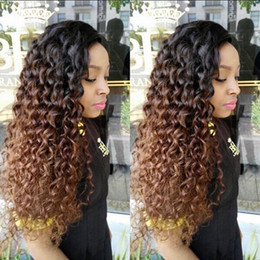 Ombre Full Lace Wigs Australia - 1B 30 Ombre Deep Part Lace Front Human Hair Wigs With Baby Hair Curly Remy Pre Plucked Brazilian Full Lace Wig Bleached Knots