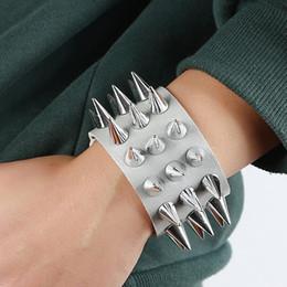 Discount faux leather bracelets - Punk Men Women Faux Leather Multiple Spikes Bracelet Bangle Jewelry Wrist Decor