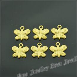 $enCountryForm.capitalKeyWord Australia - Wholesale 250 pcs Enamel Alloy Gold-color Jewelry Butterfly Pendants charms for bracelet necklace DIY jewelry making JC-571