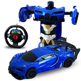 rc boxes NZ - 1:24 2 in 1 Deformation Remote Control Car Electric Robot Children Transformation Robots RC Fighting Toy Gift MX200414
