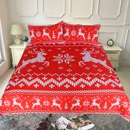 $enCountryForm.capitalKeyWord NZ - Red Christmas Bedding Set Deer Printed Duvet Cover With Pillowcases Xmas Bedclothes Twin Queen King Size White Color 3pcs