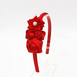 hair flower headbands Canada - Fashion Cute Hairbands Hair Hoop Rose Flower Headband headwear Head hoop Girls Pearl flower Hair Hoop girl hair accessories