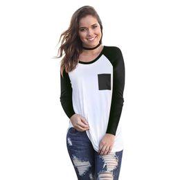 $enCountryForm.capitalKeyWord Australia - Panelled Womens Designer Long Sleeve Tshirts Casual Collage Pocket Crew Neck Females Tees Loose Females Clothing